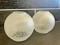 2 Vtg Frosted Round Ball MCM Floral Ceiling Fan Light Shade Globes
