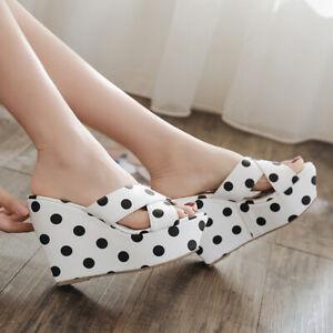 Womens Wedge Sandals Sweet Polka Dot Platform Slippers Casual Open Toe High Heel