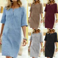 ZANZEA UK Womens Short Sleeve Cotton Solid Shirt Dress Casual Loose Mini Dresses
