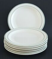 "Arcopal France Restaurant Diner Plates 6"" White Green Trim Set of Seven (7)"