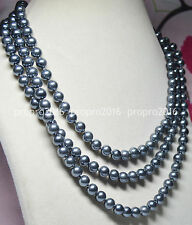 58inches Long Necklaces 8mm Black Grey South Sea Shell pearl Strands PN805