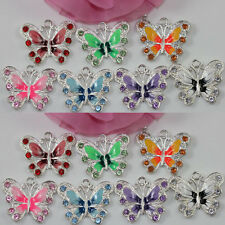 5-50 Silver Plated Enamel Butterfly Pendant Charms Jewelry Making Craft 35*30mm