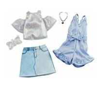 HTF Barbie Doll Pinstripe Dress Romper Outfits Skirt Open Shoulder Fashion Purse