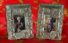Vintage Set Japanese Picture Frames Silver Plate Dragons & Torii Arch Dai Nippon