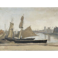 Corot Dunkerque Fishing Boats Tied To The Wharf Painting Canvas Wall Art Print P