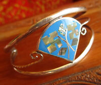 Vtg. TAXCO? STERLING CLOVER NAVAJO INLAYED CUFF BANGLE BRACELET Mexico