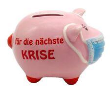 Sparschwein mit Maske Mundschutz Mundnasenbdeckung  nächste Krise 11cm