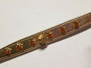 Collar - Dog Cat Poodle Town Small Gold Rhinestones Diamonds Red Made in USA