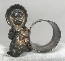 Barbour Figural Napkin Ring 12 - Baby Toddler in Bonnet - Quadruple Plate Silver
