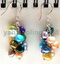 multicolor Akoya Cultured Pearl Grape Dangle Earring 925 Silver Hook