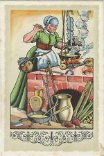 21/823 SAMMELBILD  - DIE DEUTSCHE FRAU -  HISTORISCHER HERD KÜCHE BLASEBALK
