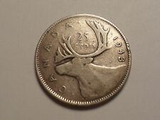1943 NICE CANADA 25 CENT 0.8000 SILVER ASW 0.15000 LOW MINTAGE 13,559,575!