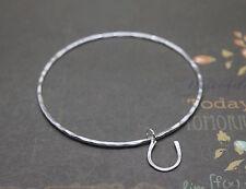 Silver Horseshoe Charm Bangle - Solid Sterling 925 Lucky Horse Shoe Bracelet