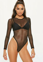 New Womens Ladies Mesh Round Neck All Over Mesh Long Sleeve Bodysuit Leotard Top