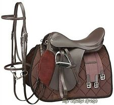19 Inch All Purpose English Saddle Package -  Havanna Brown - All Leather
