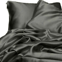 Gray Satin Silky Sheet King Size Fitted Pillows 500 TC New 3 Piece