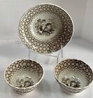 "Antique Staffordshire ""Peace"" Transferware Lion Pair Cups Saucer c. 1837"