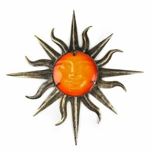 Metal Sun With Glass Home And Garden Wall Decoration Miniature Outdoor Ornaments