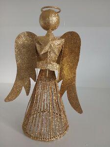 Glittery gold christmas tree christmas angel topper