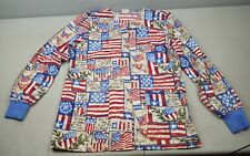 Knot Us Patriotic American Flag Scrub Jacket size S small MADE in the USA!