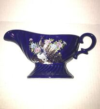 """Cobalt Blue & Gold Gravy Boat Japan Glass or China Floral and Peacock 8 1/2"""""""