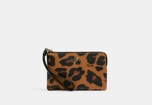 🐆🐾 Coach Corner Zip Small Wristlet With Leopard Print Gold/Light Saddle Sealed