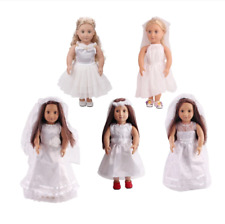 Clothes for doll 18 inch Girls doll dress Delicate white lace wedding dress