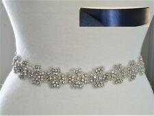 Wedding Sash Belt - SILVER CLEAR RHINESTONE  Sash Belt - NAVY