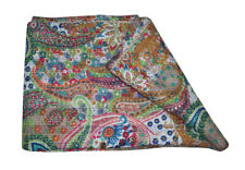 Beige Paisley Indian Twin Kantha Quilt Bedspread Blanket Bedding Throw Handmade