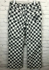 Burton Snowboard Pants Black And White Checked Vented Adjustable Waist M