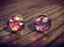 Stainless Steel Valentines Silver Hearts & Pink Glitter Resin Stud Earrings 10mm