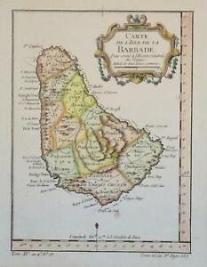 BARBADOES - CARTE DE L'ISLE DE LA BARBADOES BY BELLIN 1754