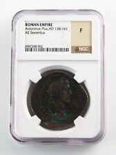 138-161 AD Roman Empire AE Sestertius Antoninus Pius Graded by NGC as F RIC#775