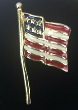 American Flag US United States Enamel Painted Pin Gold Tone