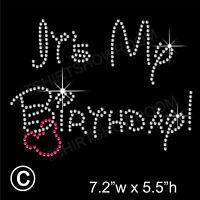 'It's My Birthday' Rhinestone/Diamante Transfer Hotfix Iron on Motif + Free Gift