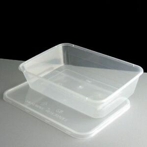Microwave Container and Lid 650cc Rectangle, Clear Plastic Storage Tub (Qty 250)