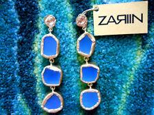 Zariin The Spirited Three Blue Chalcedony Drops Gold Plated Pierced Earrings