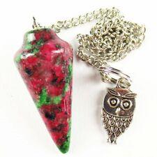 Ruby in Fuchsite Pendulum&Tibetan Silver Owl Pendant Bead K98124