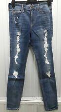 Hollister High Rise Super SKINNY Ripped Jeans Blue 7r (w28 L30)