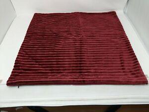 """Pottery Barn Channel Velvet Pillow Cover Square Euro Sham 22"""" X 22"""" Dark Red"""