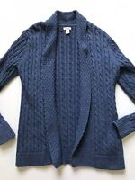 LL Bean Women's Sz M Blue Open Front Cardigan Sweater Cable Knit Cotton