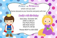 30 Princess & Prince Invitation Cards Kids Birthday Party Invites Personalized A