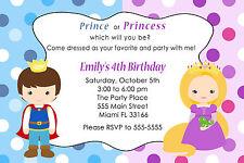 30 Princess & Prince Invitation Cards Kids Birthday Party Invites Personalized A