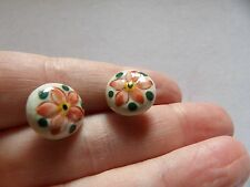 hand painted ceramic round button earrings with silver post & butterfly W86-88