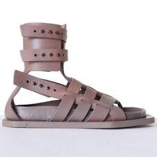 new RICK OWENS Runway Cyclops grey leather angular gladiator sandals EU37 US7