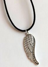 """Silver Crystal Angel Wing Necklace Plated 20"""" Inch Long Angels Wings Black Cord"""