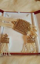 Fashion Jewellery White Latest gold plated American diamond with Earring set