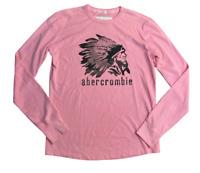 Abercrombie & Fitch Men's Crew Neck Pink Large 100% Cotton