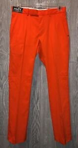 RLX RALPH LAUREN Slim Fit Stretch Microfiber Blaze Orange Golf Pants Men 31 x 32