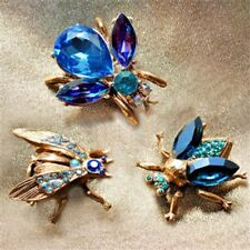 of 3 Blue & Purple Swarovski Crystals Sweet Romance Exotic Bees Scatter Pins Set